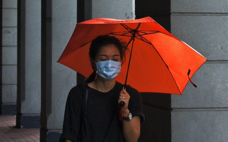 Asian Woman with umbrella and facemask